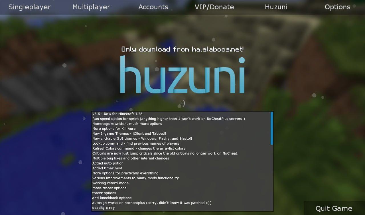 Huzuni чит 1.8 для minecraft скачать бесплатно