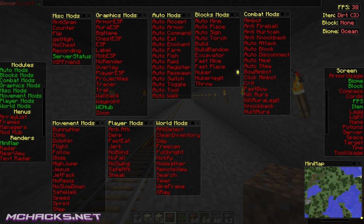 Download WeepCraft hacked Client for Minecraft 1.8-1.8.1