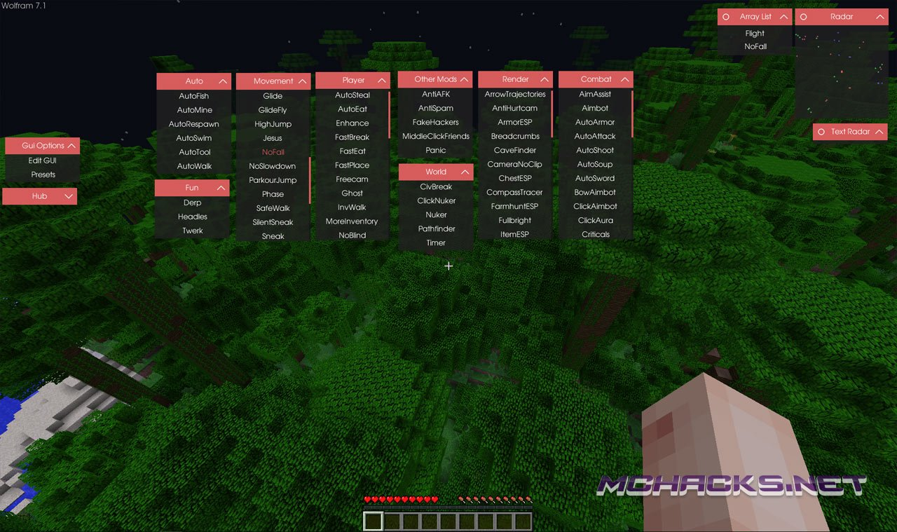 Download Wolfram Hacked Client for Minecraft - ALL Versions